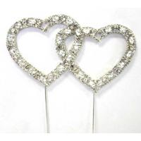 Double Heart Diamante Cake Topper