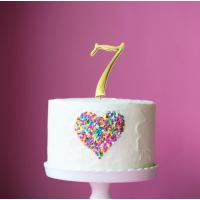 gold plain number metal cake topper seven