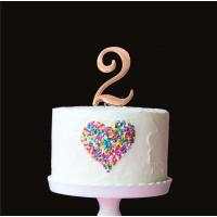 number 2 plain rose gold metal cake topper