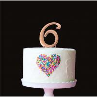 number 6 plain rose gold metal cake topper