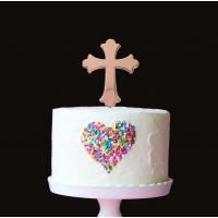 rose gold plated cake topper cross