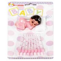 Sleeping Baby Girl Topper & Candle Set