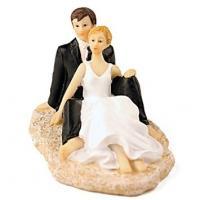 Bride & Groom - Romantic Beach Wedding Cake Topper