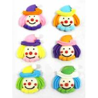 Fun Clowns Face Assorted Edible Icing Toppers - 6pack