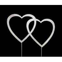 Diamante - Double Hearts Cake Topper