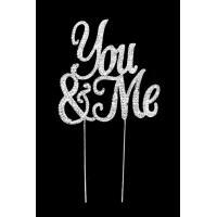 You & Me Diamante Wedding Cake Topper
