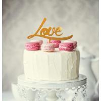 Love Acrylic Cake Topper Gold Glitter