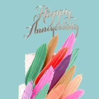 happy anniversary acrylic cake topper silver