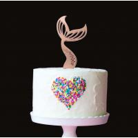 mermaid tail plain rose gold metal cake topper