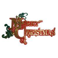 merry christmas scroll cake topper
