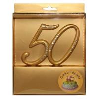 no 50 gold cake topper