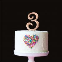 number 3 plain rose gold metal cake topper