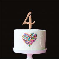 number 4 plain rose gold metal cake topper