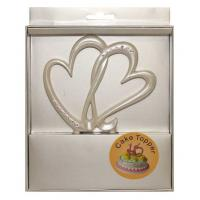 pearl double hearts diamante cake topper