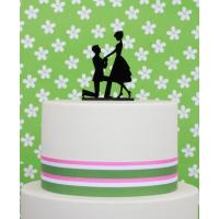 proposal black acrylic cake topper