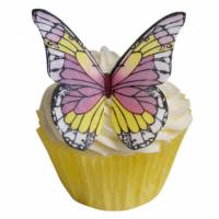 purple and yellow wafer edible butterflies