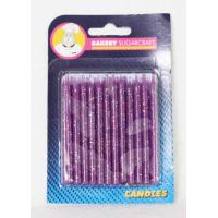 Purple Glitter Candles 24 pk