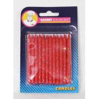 Red Glitter Candles 24 pk