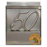 50th Cake Topper Silver with Diamantes