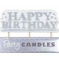 Silver Happy Birthday Candle