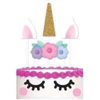 unicorn paper cake topper set