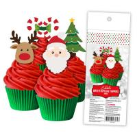 Christmas Wafer Paper Cupcake Toppers